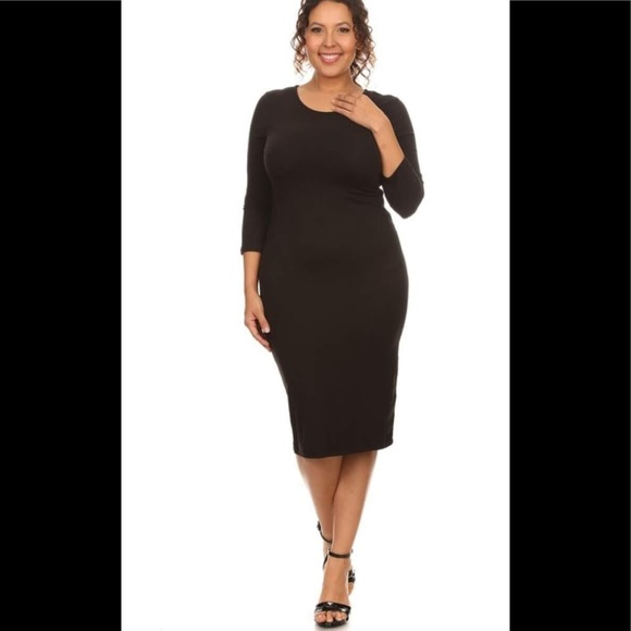 Yelete Dresses Plus Size Midi Bodycon Dress In Black Poshmark